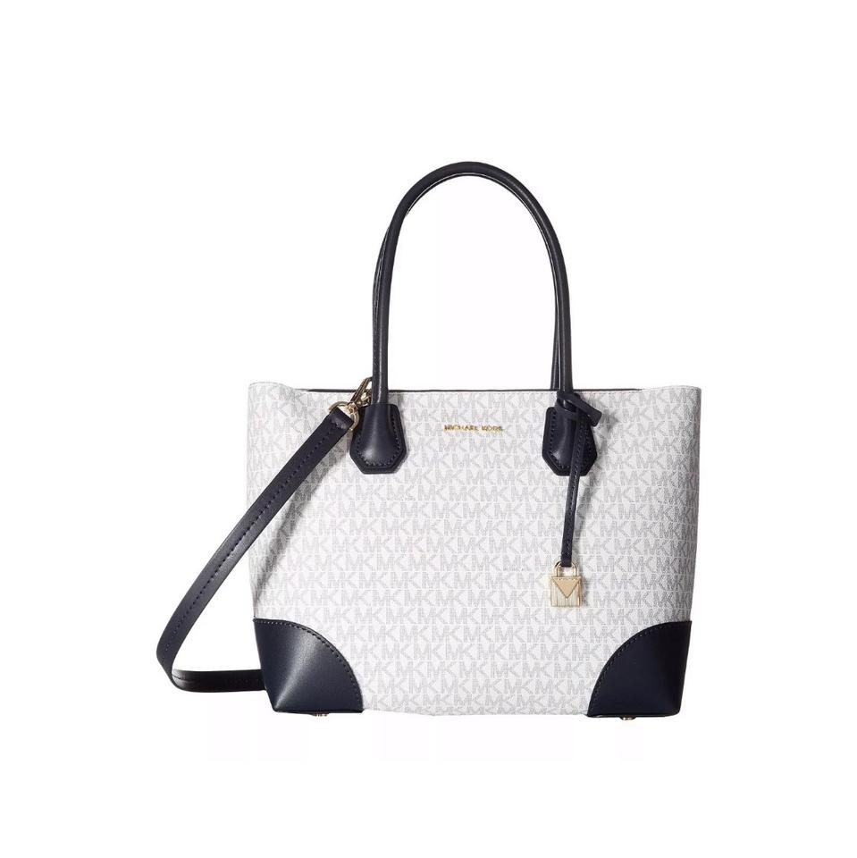 78fd761231a6 Michael Kors Signature Mercer Gallery Corner White and Navy Blue ...