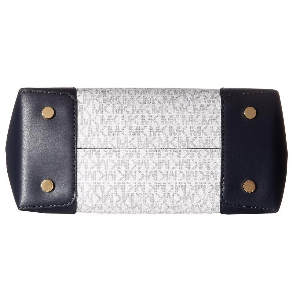 177013a6792 Michael Kors Signature Mercer Gallery Corner White and Navy Blue ...