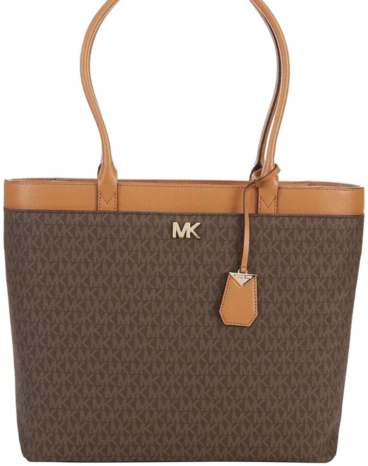 4561e1ae866c Michael Kors Maddie Large Ns Pocket Brown 30t8gn2t3b Msrp Vanilla Saffiano  Leather Tote