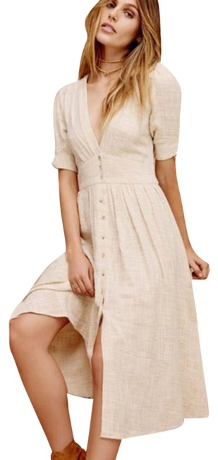 Item - Cream Love Of My Life Midi Mid-length Casual Maxi Dress Size 12 (L)