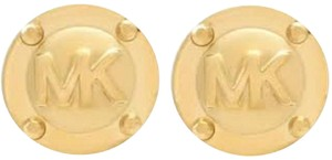 Michael Kors MICHAEL KORS Stainless Steel MK Logo Round Button Stud Earrings