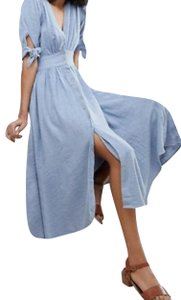 blue Maxi Dress by Free People Midi Long Sleeves