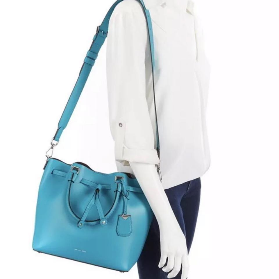 66989532cb66a0 Michael Kors Bucket Blakely Medium Tile Blue Leather Hobo Bag - Tradesy