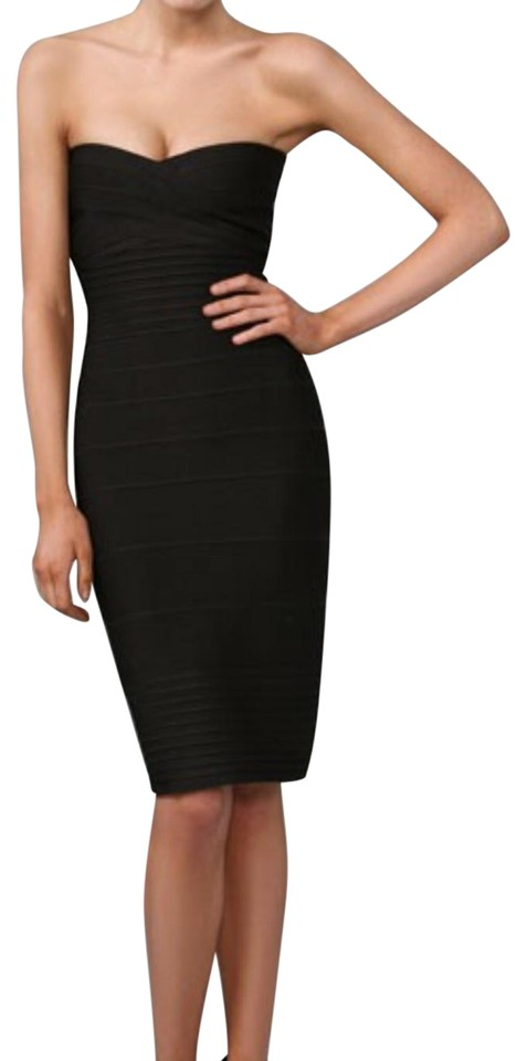 6196a4fe3263 Hervé Leger Black Signature Essentials Strapless Bandage Night Out Dress