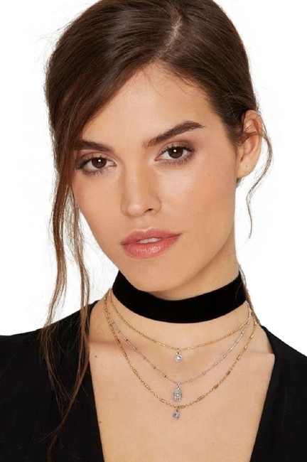 Item - Black More Or Less Layered Choker Necklace