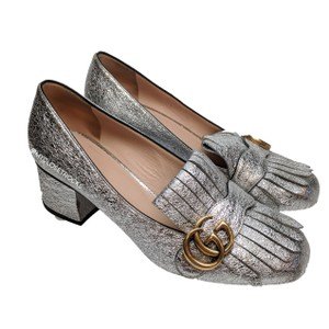 Gucci Mamont Heels Loafers Silver Pumps