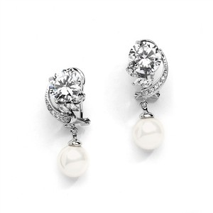 Mariell Captivating Wedding Earrings With Abstract Cz Design And Soft Cream Pearl Drops 4277e