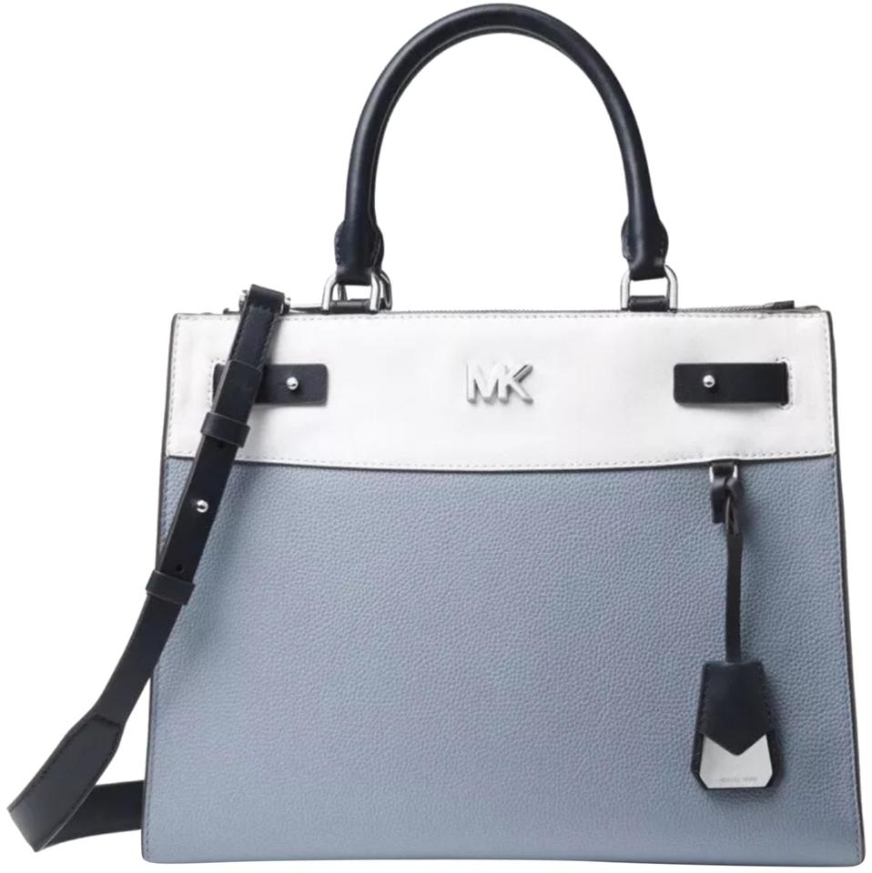 7b48b086d1a9 Michael Kors Reagan Colorblock Admiral White Pale Blue Admiral Leather  Satchel