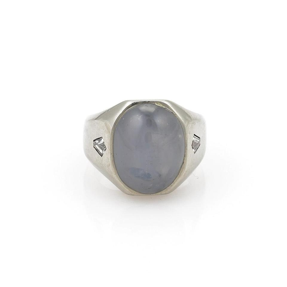 9b7b70dce Other Vintage 15.40ct Star Sapphire & Diamond 14k White Gold Dome Ring  Image 0 ...