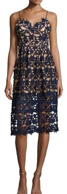 Item - Navy L Sleeveless Floral In Short Cocktail Dress Size 12 (L)
