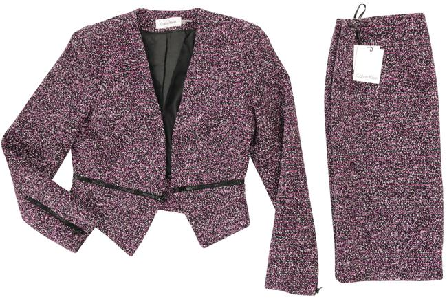 Item - Black And Purple/Violet with Super Stylish Zippers At Cuffs and Waist Skirt Suit Size 8 (M)