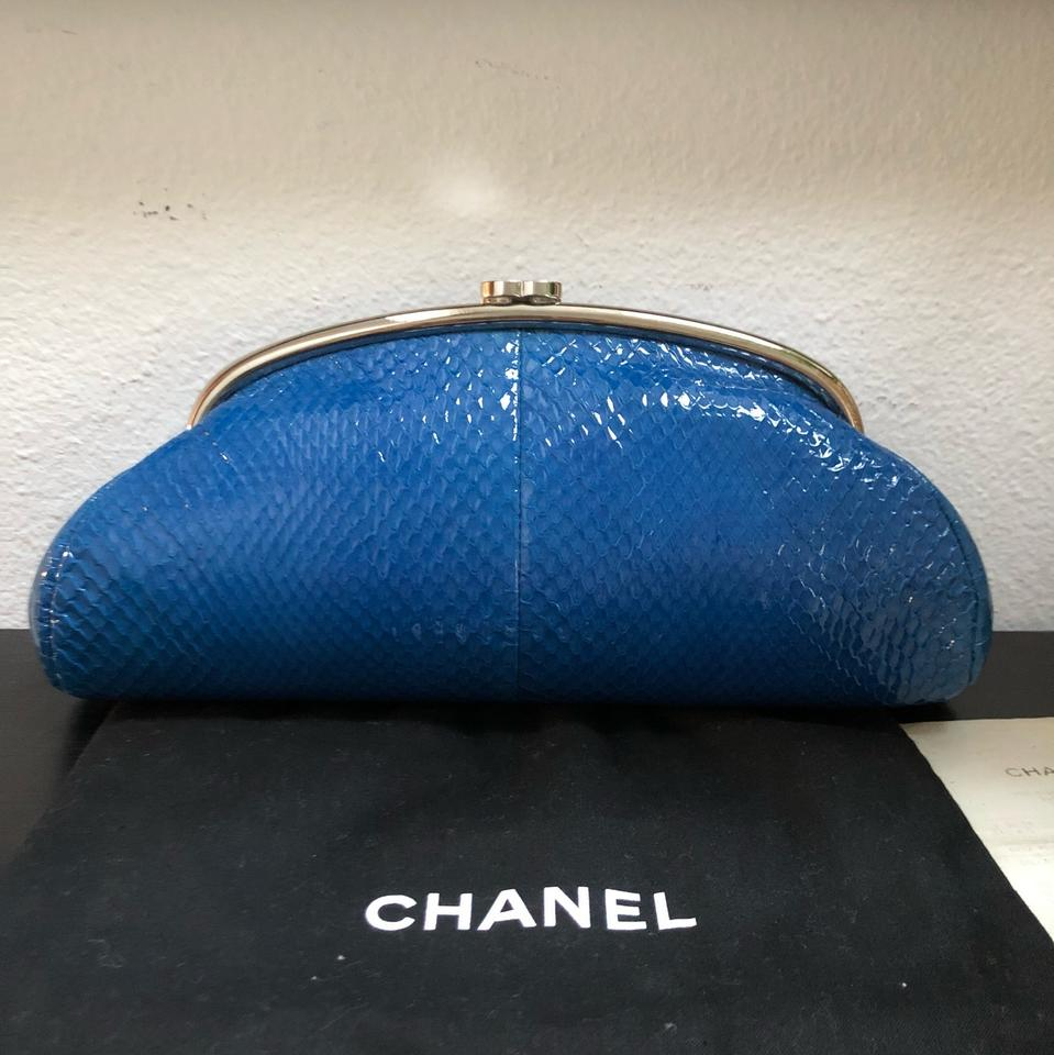 211dc9906a46 Chanel Classic Timeless Kisslock Patent Snakeskin Blue Python Skin Leather  Clutch