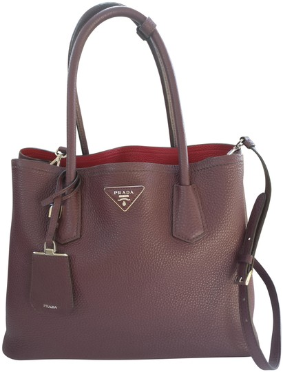 d4a6de525105 Prada Tote Double Cuir Brown Leather Cross Body Bag - Tradesy