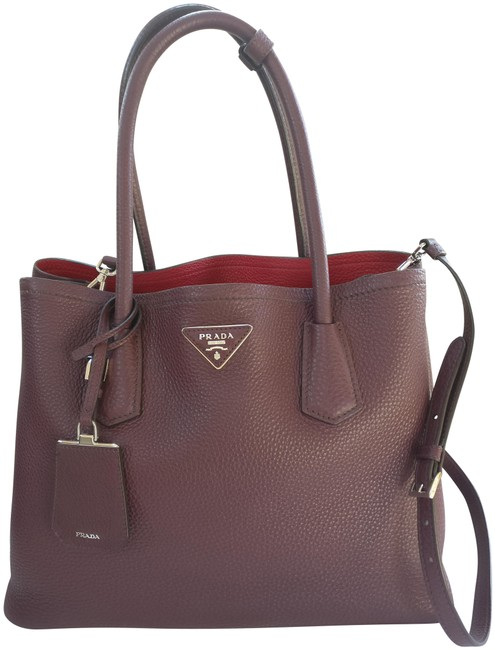 Item - Tote Double Cuir Brown Leather Cross Body Bag