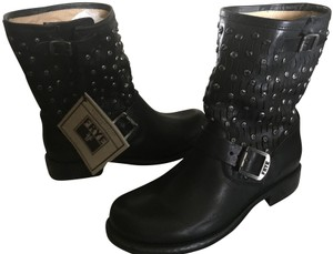 Frye Moto Leather Studded Ankle Black Boots