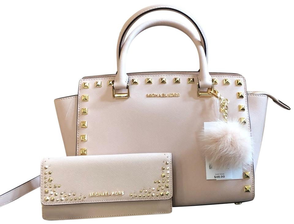 715042da10ce Michael Kors 3pcs Selma Medium Studded Handbag+wallet+pom Pom Ballet  Saffiano Leather Satchel