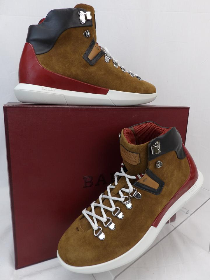 7ecd9f347e Bally Brown Avyd Tobacco Suede Black Leather Logo Top Sneakers 8 Us 41 Shoes