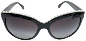 Chanel Black Cat Eye Pearl Sunglasses 57mm