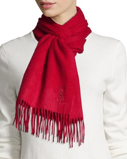Saint Laurent Red Ysl Yves Wool Cashmere Women's Winter