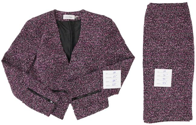 Item - Black And Purple/Violet with Super Stylish Zippers At Cuffs and Waist Skirt Suit Size 10 (M)
