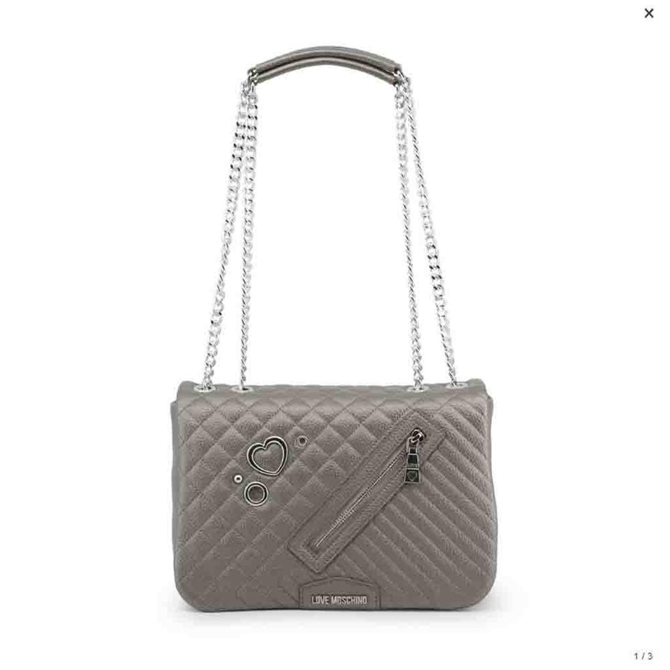 ea523b1b5c8d Love Moschino Grey Faux Leather Shoulder Bag - Tradesy