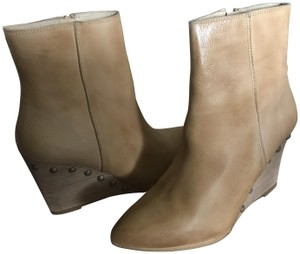 Matisse Leather Studded Wedge Ankle Tan Boots