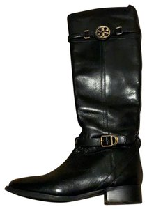 Tory Burch Riding Leather Gold Black Boots