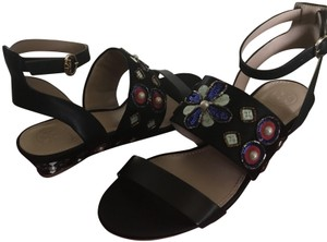 Tory Burch Beaded Wedge Leather Black Sandals