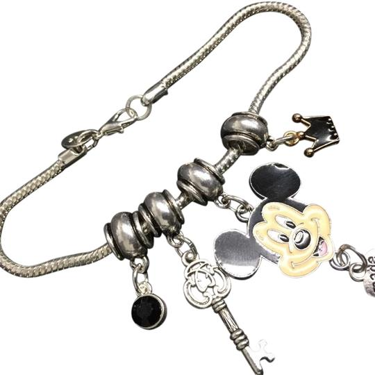 Mickey Mouse Charm Bracelet: Deluxe Mickey Mouse 925 Silver Plated Charm Bracelet