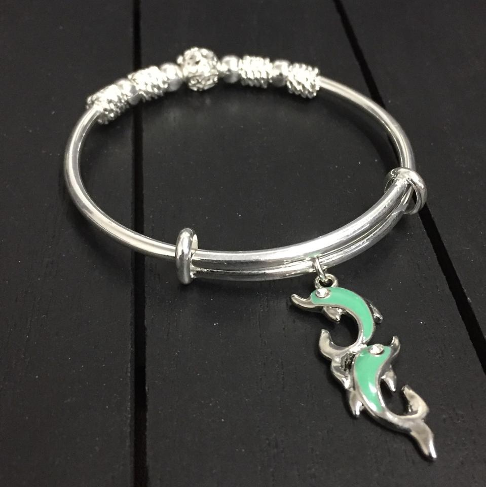 Handmade Deluxe 925 Silver Plated Charm Bracelet With Enamel Dolphin