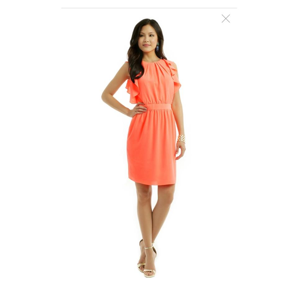 2559fb9fda Shoshanna Neon Orange Katrina Ruffle Short Cocktail Dress Size 8 (M ...