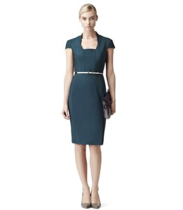 Reiss Workwear Fitted Pencil Cap Sleeves Front Slit Dress