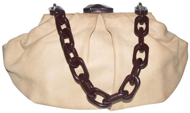 Item - Purses/Designer Purses Stone Colored Leather with A Brown Lucite Chain Strap and Clasp Fabric Shoulder Bag