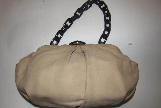 Escada Purses/Designer Purses Stone Colored Leather with A Brown Lucite Chain Strap and Clasp Fabric Shoulder Bag Escada Purses/Designer Purses Stone Colored Leather with A Brown Lucite Chain Strap and Clasp Fabric Shoulder Bag Image 5