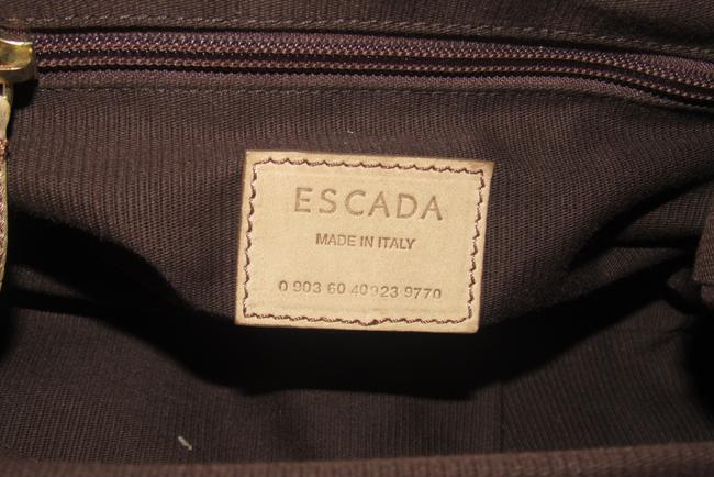 Escada Purses/Designer Purses Stone Colored Leather with A Brown Lucite Chain Strap and Clasp Fabric Shoulder Bag Escada Purses/Designer Purses Stone Colored Leather with A Brown Lucite Chain Strap and Clasp Fabric Shoulder Bag Image 7