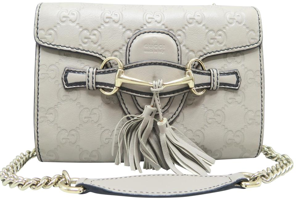 178ed0f0d223 Gucci Emily Guccissima Mini Crossbody Grey Calfskin Shoulder Bag ...