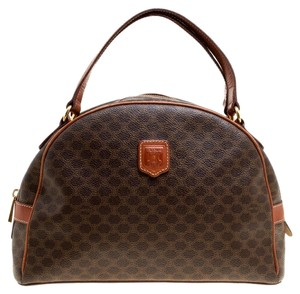 Céline Coated Canvas Leather Satchel in Brown