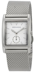 Movado Movado Men's Heritage White Dial Stainless Steel Mesh Watch 3650044