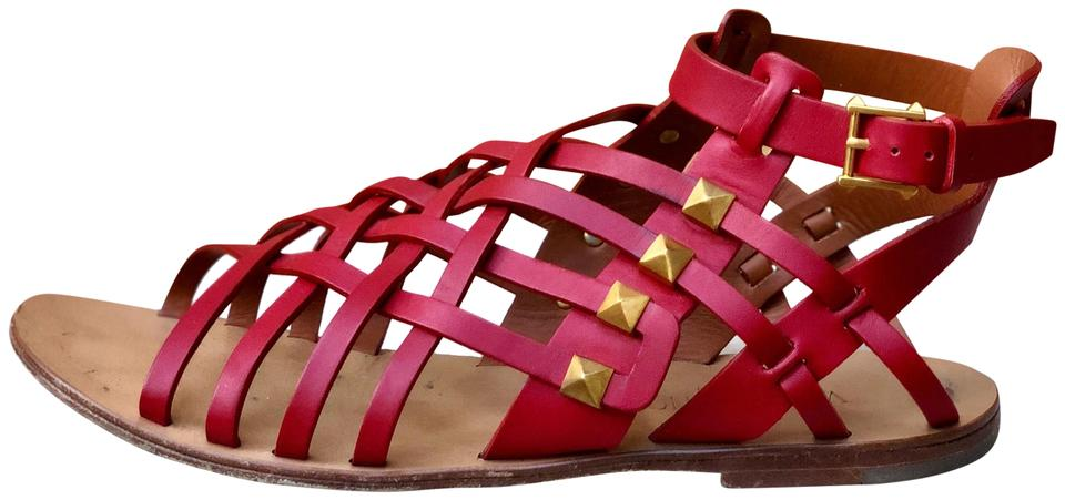5c2034d97d1 Valentino Red Rockstud Gladiator Sandals Size EU 37 (Approx. US 7 ...