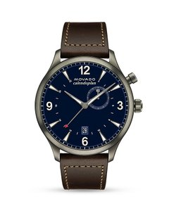 Movado Movado Men's Heritage Blue Lacquer Dial Leather Watch 3650017
