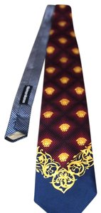 Versace Authentic VERSACE RARE Silk Men's Tie Medusa Head Red Blue Gold