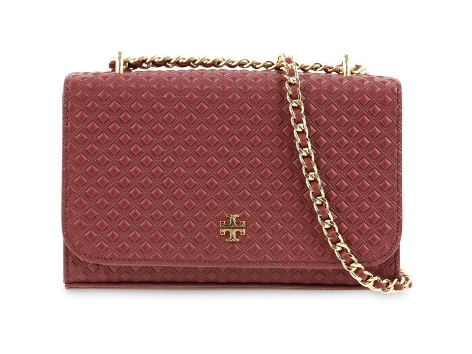 d4f4a7bef02 Tory Burch Marion Embossed Shrunken Imperial Garnet Red Leather Cross Body  Bag