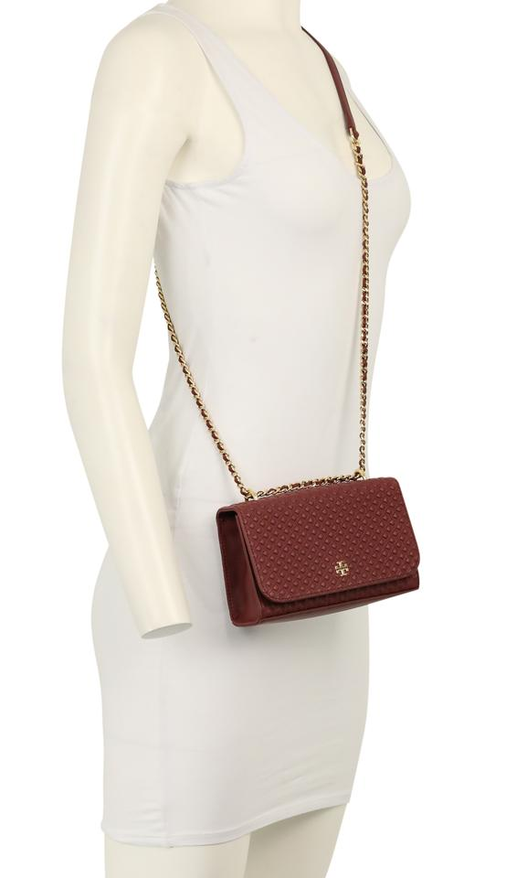 886bf52ced38 Tory Burch Marion Embossed Shrunken Imperial Garnet Red Leather ...