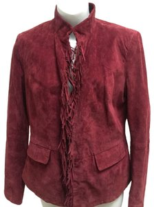 Pamela McCoy Mandarin Collar Fringe Burgundy Leather Jacket