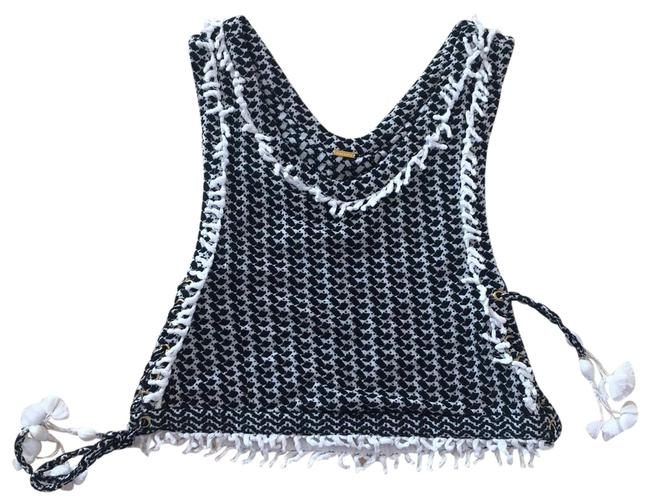 Item - Black and White Fringe Tie Up Cotton Tank Top/Cami Size 4 (S)