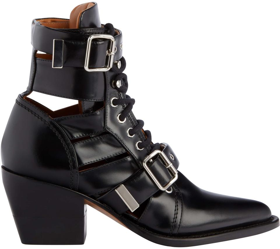 Chlo 233 Black Rylee Caged Pointy Toe Boots Booties Size Eu