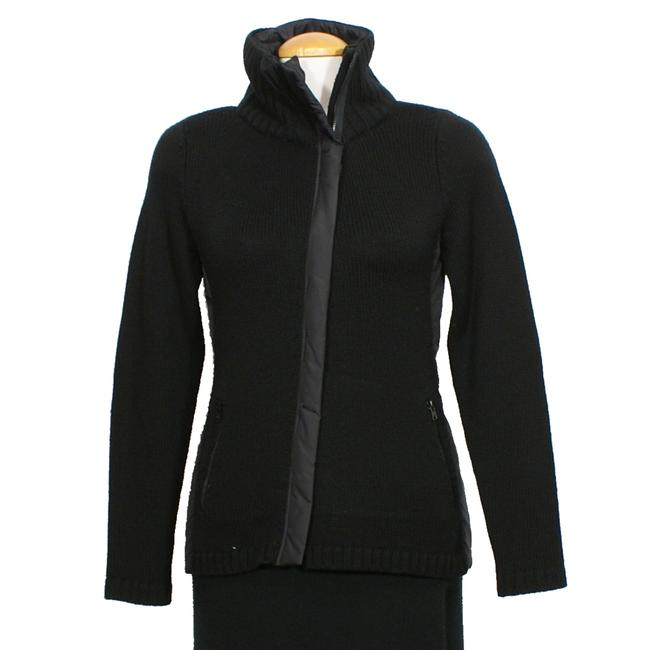 Item - Black XS Merino Wool Knit Parka Trim Zip Jacket Size 2 (XS)