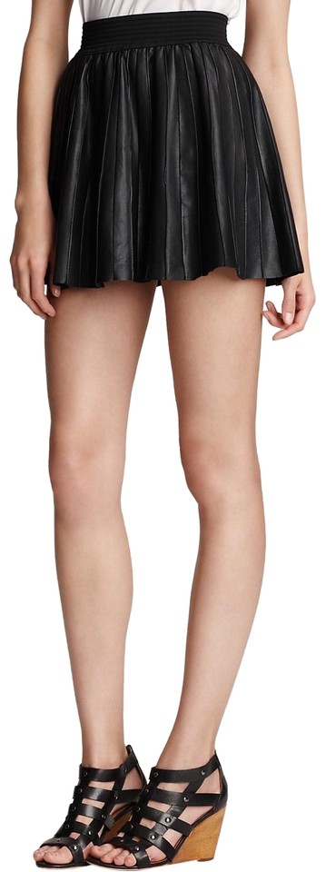 ff226f4754 Parker Black Pleated Leather Elastic Waistband Skirt Size 4 (S, 27 ...