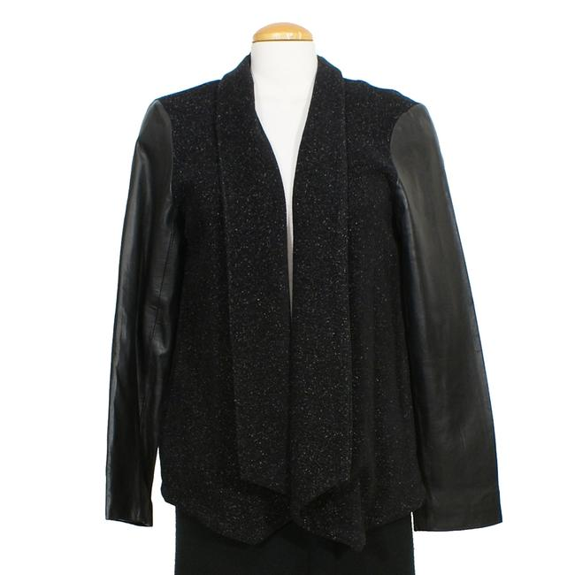 Preload https://img-static.tradesy.com/item/24387945/eileen-fisher-black-plush-cotton-speckle-leather-sleeve-angle-front-jacket-s-blazer-size-6-s-0-0-650-650.jpg