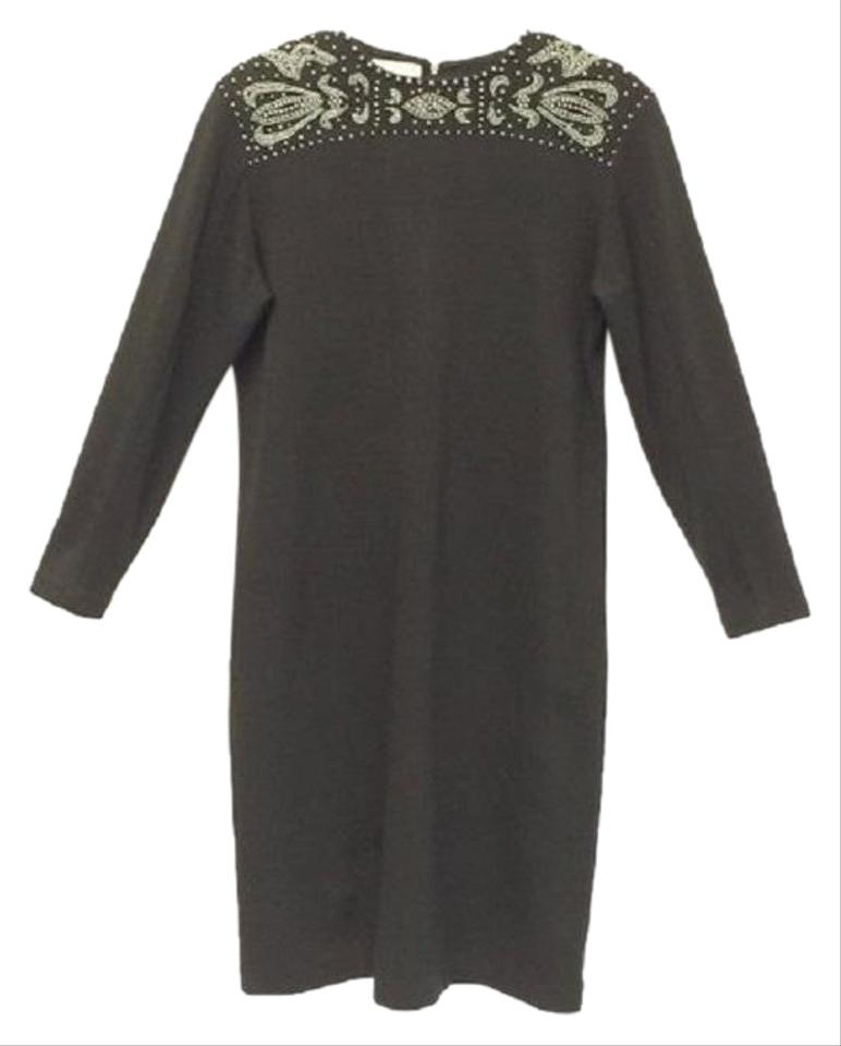 01ed95477 Liz Claiborne Black Vintage Beaded Mid-length Cocktail Dress Size 10 ...